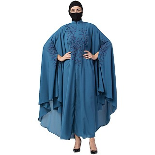 Designer Irani Kaftan with chikan embroidery- French Blue