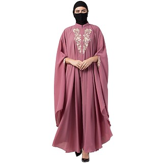 Designer Irani Kaftan with chikan embroidery work- Puce Pink