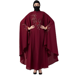 Designer Irani Kaftan with chikan embroidery work- Maroon