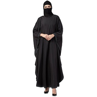 Kaftan Abaya with striped border- Black