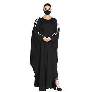 Black Nida Kaftan abaya with White contrast