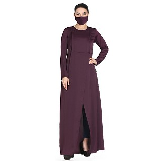Elegant abaya with front open slit- Burgundy
