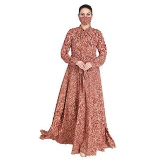 Printed abaya with large flare at bottom