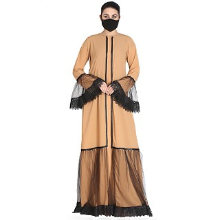 Designer front open abaya with matching Hijab- Sand