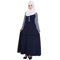 A beautiful simple abaya with printed sleeves- Navy blue