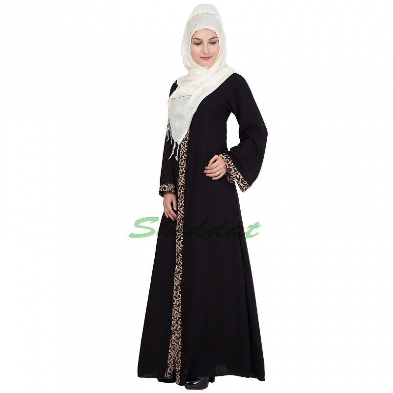 Front Open Designer Burqa In Black Color Online In India
