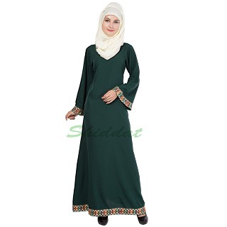 A-line Abaya- Bottle Green Color