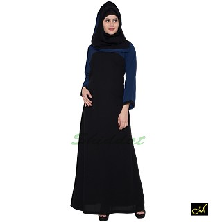 Casual Abaya- Black and Blue