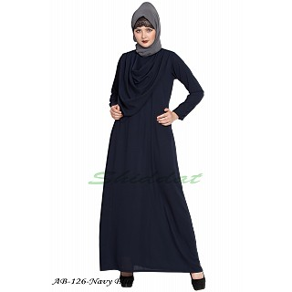 Modest abaya with attached Shawl- Navy Blue