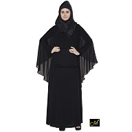 Trendy Black Abaya with Outer Layer