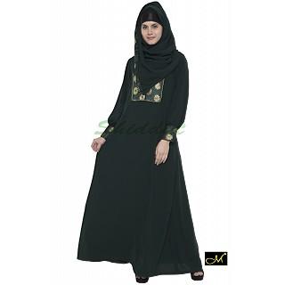 Chic style Abaya- Dark Green