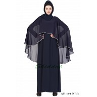 Cape abaya- Navy Blue/Grey