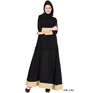 A-line designer abaya with golden border on sleeves & bottom - Black
