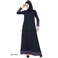 A-line designer abaya with printed border on sleeves & bottom - Blue