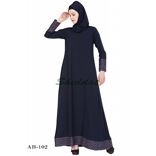 A-line abaya with printed border- Blue