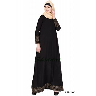 A-line designer abaya - Black color