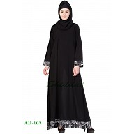 A-line abaya - Black color with printed border