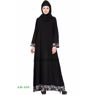A-line Black color abaya with printed border
