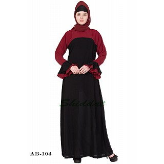Dual colored abaya- Black & Cherry Red