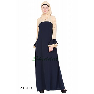 Dual colored abaya- Blue-&-Beige