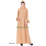 A-line designer abaya with frills on sleeves - Beige color