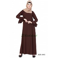 A-line designer abaya with frills on sleeves - Brown color