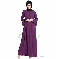A-line designer abaya with frills on sleeves - Purple