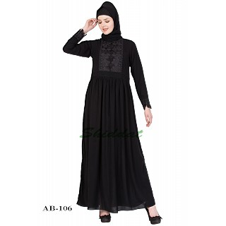 Frock Style Abaya with embroidery - Black