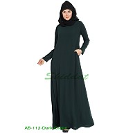 A-line inner abaya- Dark Green