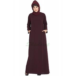 A-line inner abaya- Wine
