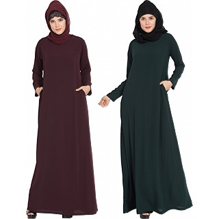 Inner abaya combo- Wine-Dark Green