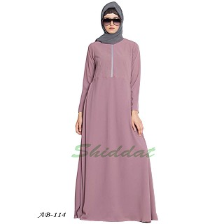 Designer abaya with a zipper on yoke- Puce Pink