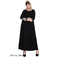 A-line abaya with embroidery work- Black