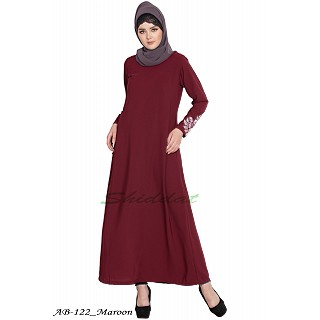 A-line abaya with embroidery work- Maroon