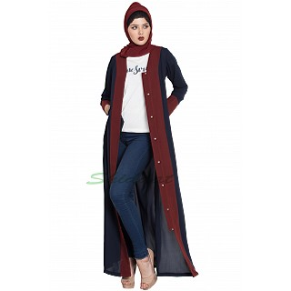 Long Cardigan abaya- Blue-Maroon