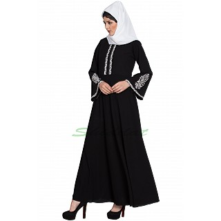 Embroidered Umbrella abaya- Black