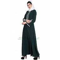Embroidered Umbrella abaya- Bottle Green