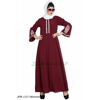 Umbrella cut abaya with embriodery- Maroon
