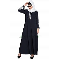 Umbrella cut abaya with embriodery- Navy Blue