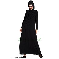 Modest abaya with attached Shawl- Black
