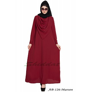 Modest abaya with attached Shawl- Maroon