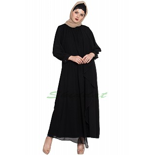 Abaya with attached georgette layer- Black