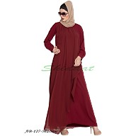 Abaya with attached georgette layer- Maroon