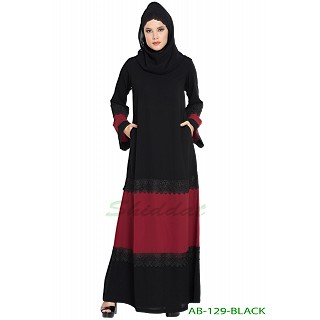 Casual Dress abaya- Black-Maroon