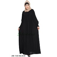 Casual pleated abaya- Black