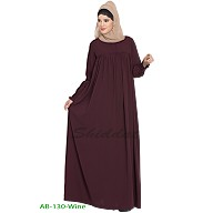 Casual pleated abaya- Wine color
