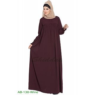 Casual pleated abaya- Wine color