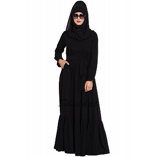 Designer abaya with Pintucks- Black