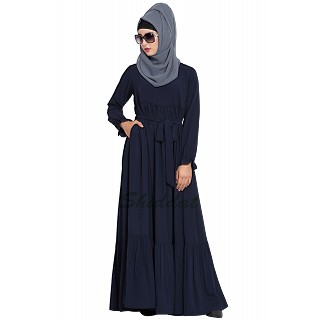 Designer abaya with Pintucks- Navy Blue