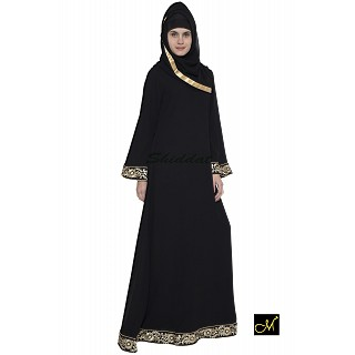 Simple Black Abaya with Golden Lace